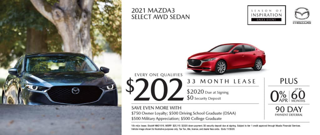 New 2021 Mazda3 Select AWD