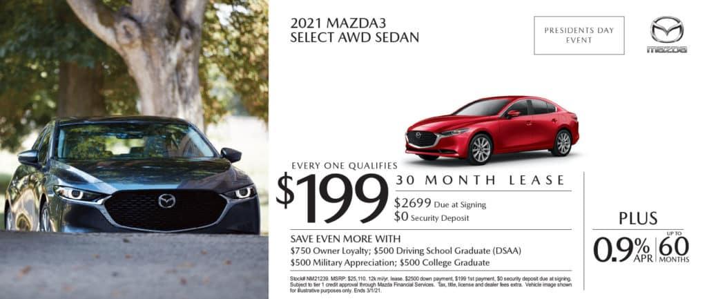 New 2021 Mazda 3 Select AWD Sedan