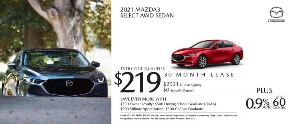 New 2021 Mazda3 Select AWD Sedan