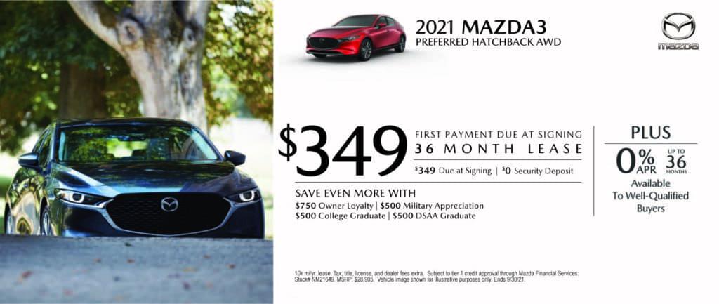 New 2021 Mazda Mazda3 - $0 Down