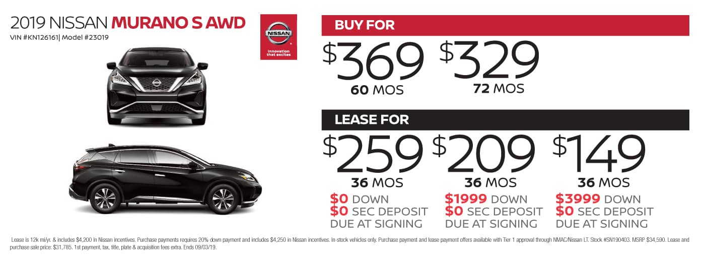 Car Leases Under 200 >> Nissan Lease Deals Nissan Finance Deals At Cochran Nissan South Hills