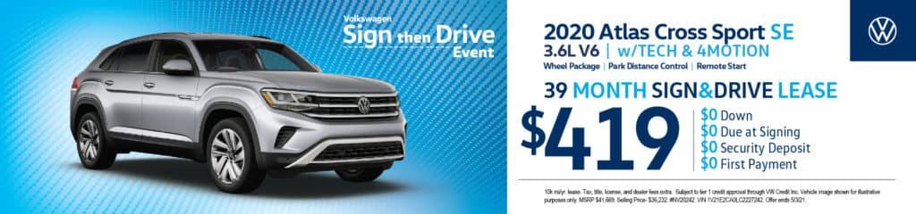 New 2020 Volkswagen Atlas Cross Sport SE 3.6L V6 w/Tech & 4Motion