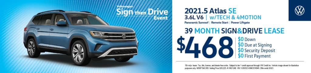 New 2021.5 Volkswagen Atlas SE 3.6L V6 w/Tech & 4Motion