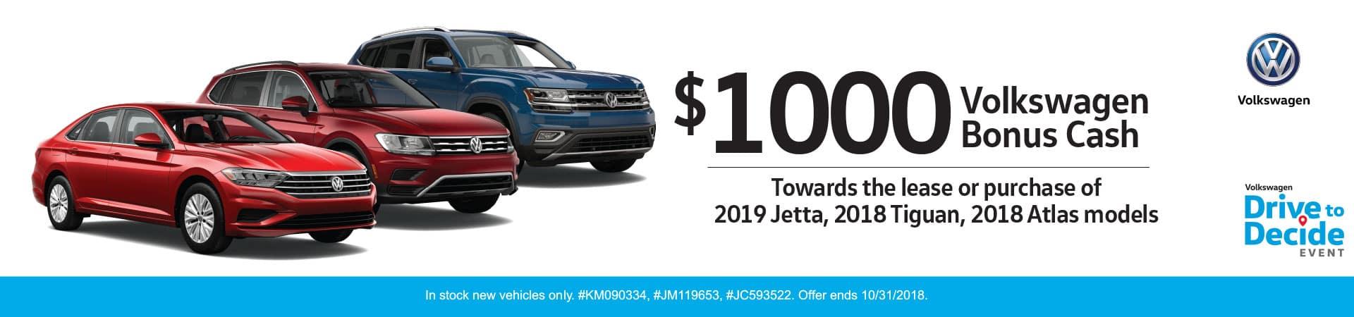$1000 Volkswagen Bonus Cash