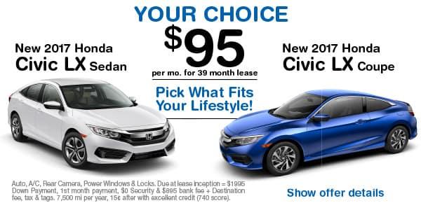 New 2017 Honda Civic LX Sedan or New 2017 Honda Civic LX-P Coupe