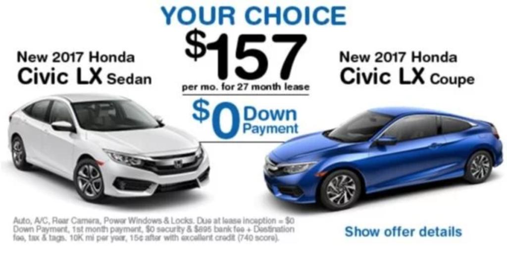 Lease specials advantage honda for Honda lease payment
