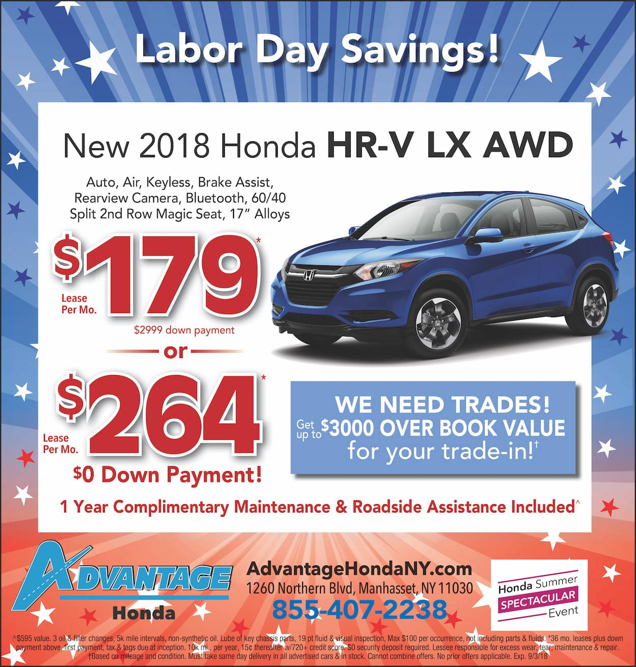 New Honda HR-V Lease Special in Manhasset, New York