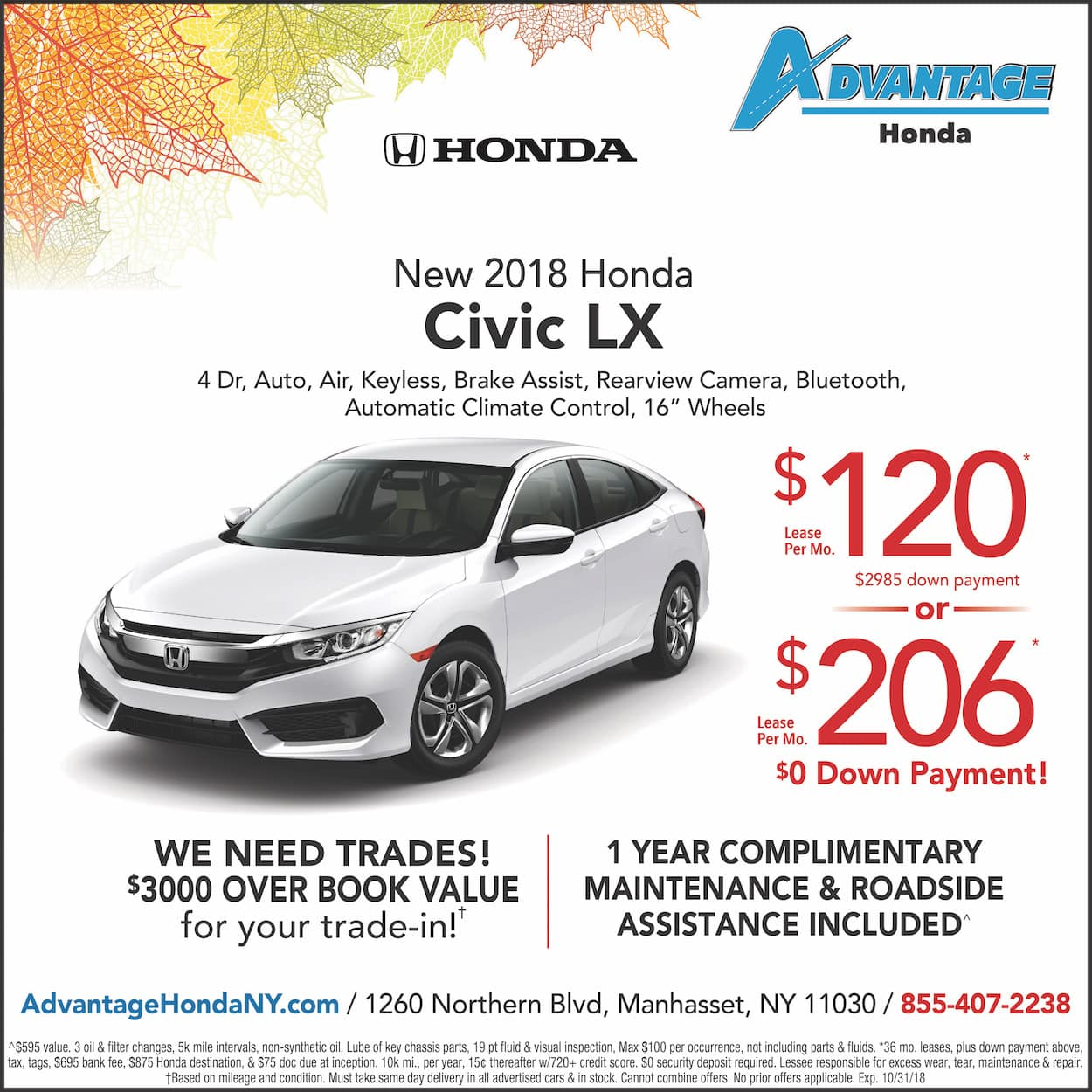 1 Year Car Lease >> 2018 Honda Civic Lease Special Advantage Honda