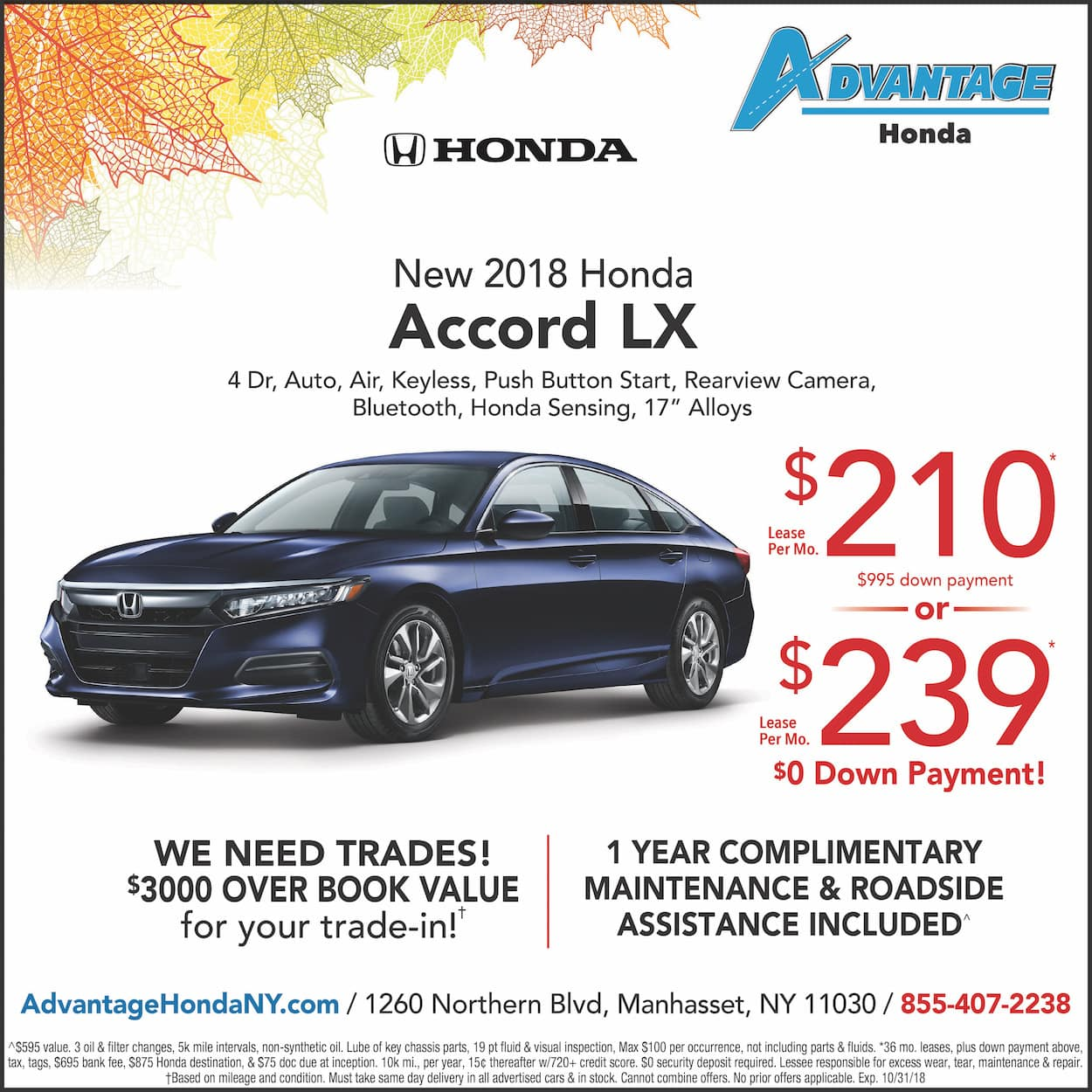 New Honda Accord Lease Special in Manhasset, New York