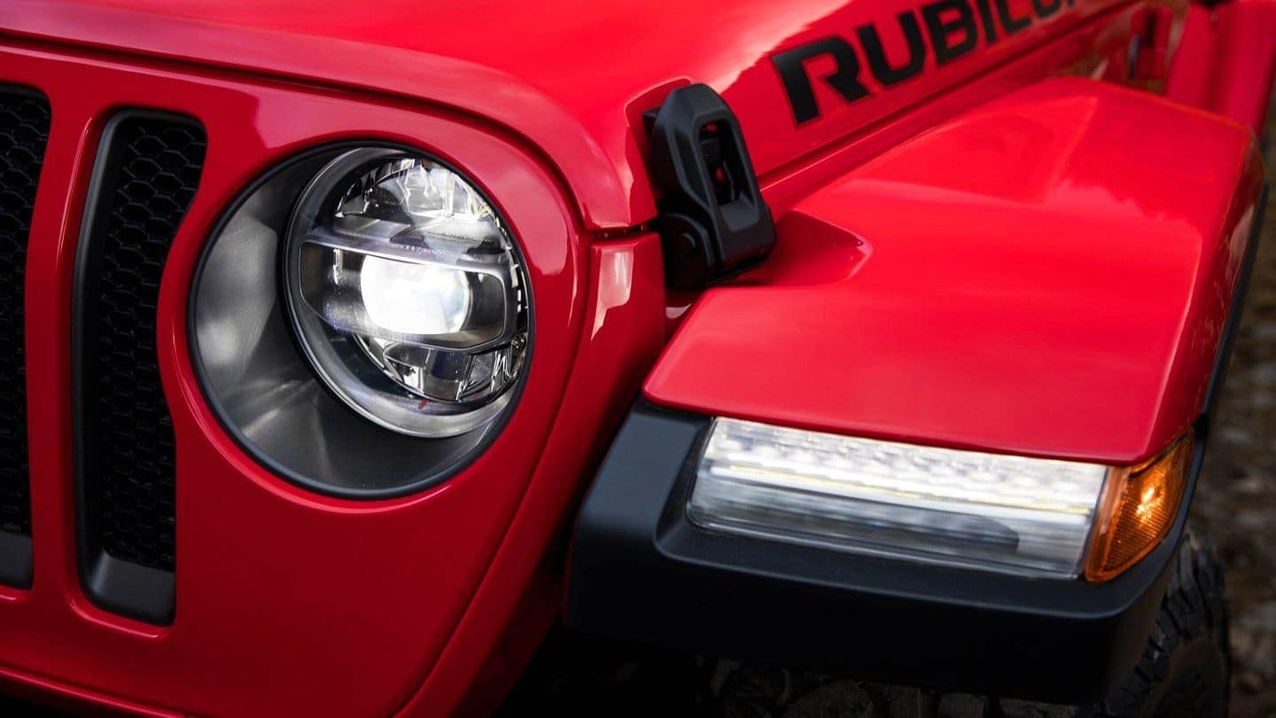 Firecracker Red Jeep Wrangler Headlight Closeup