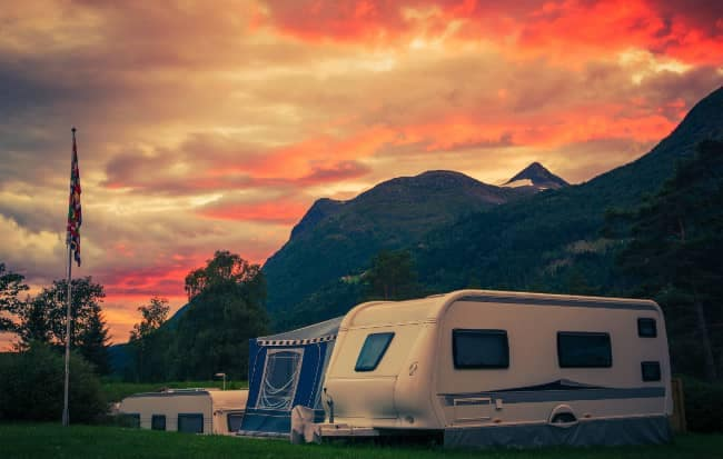 RV at park during sunset