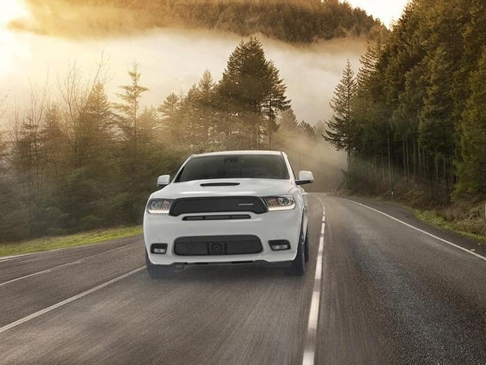 2020 white dodge durango driving