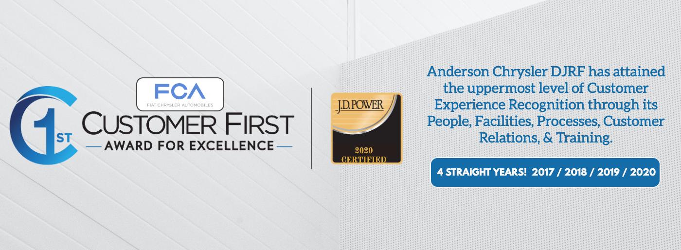 Anderson Chrysler Customer First Award