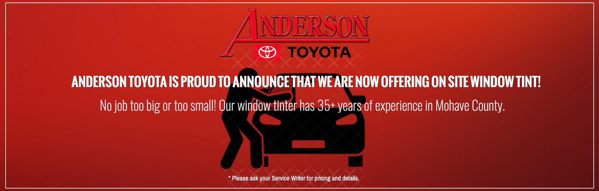 Anderson Toyota Window Tint