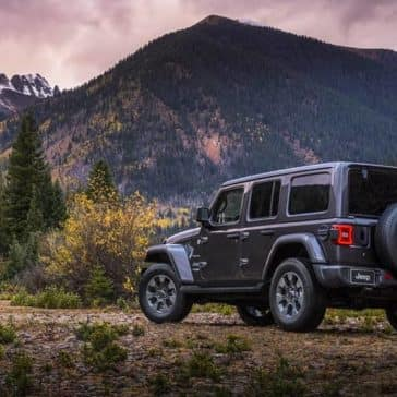 2019 Jeep Wrangler parked by mountain