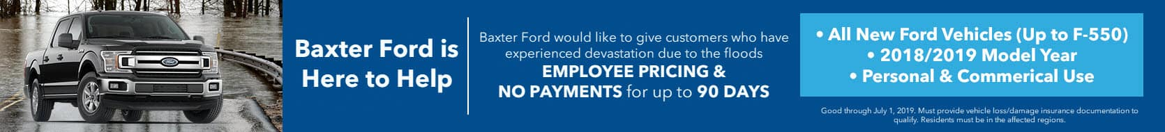 Baxter Ford Flood Relief Offer