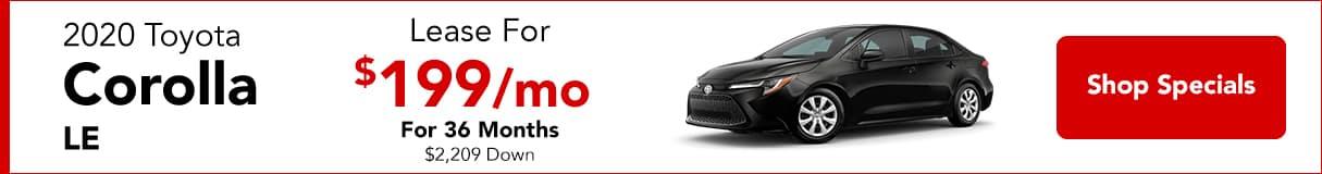 2020 Corolla - Lease For $199/mo