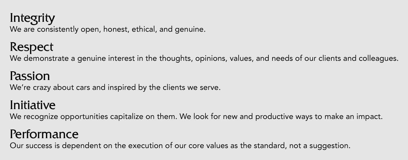 Bill Jacobs Core Values