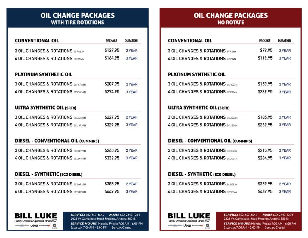 Oil Change Deals Bill Luke Chrysler Jeep Dodge Ram