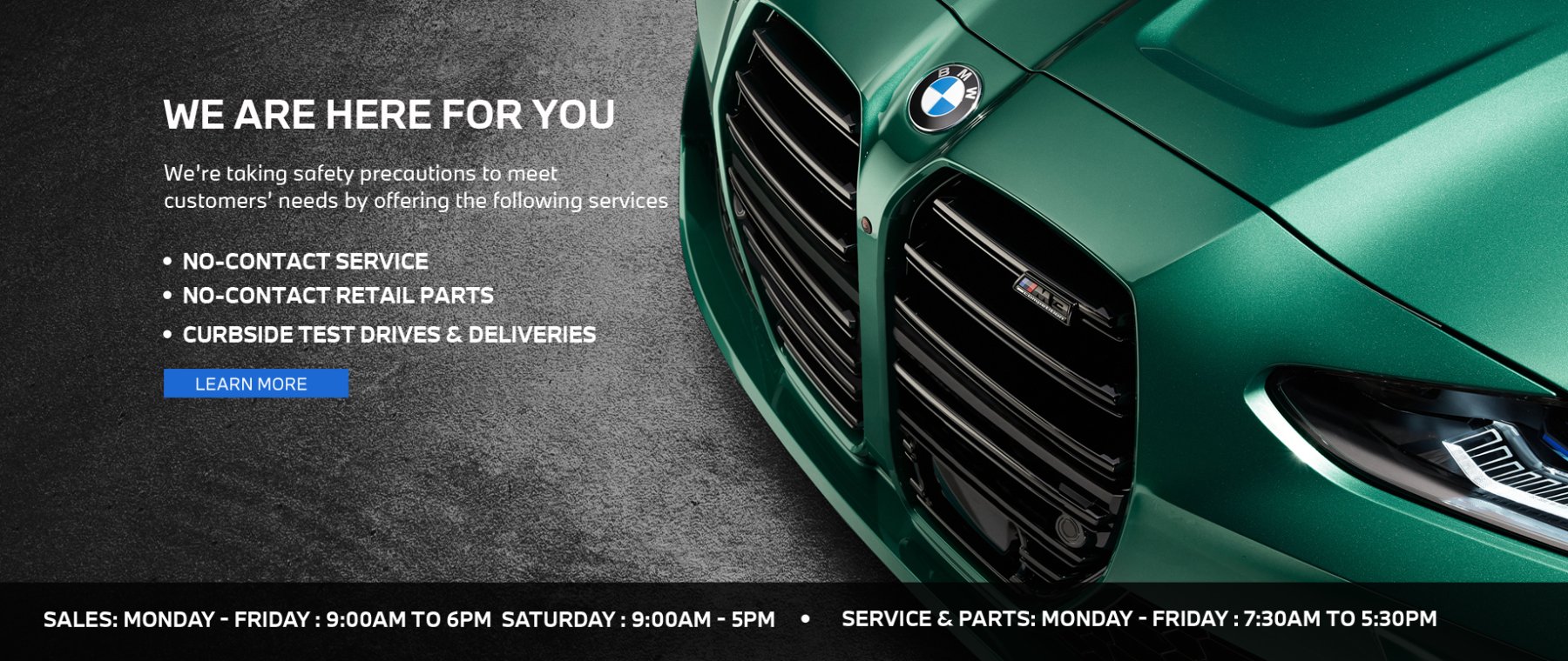 2021 BMW COVID Norm Hours Homepage Hero