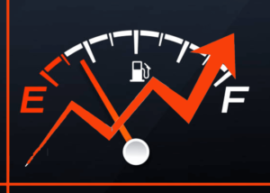 Fuel gauge with line chart showing improvement