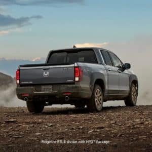 Rear view of the 2021 Honda Ridgeline from the exterior