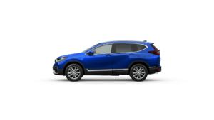 Exterior side view of the 2021 Honda CR-V in Aegean Blue Metallic