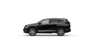 Exterior side view of the 2021 Honda CR-V in Crystal Black Pearl
