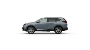 Exterior side view of the 2021 Honda CR-V in Sonic Gray Pearl
