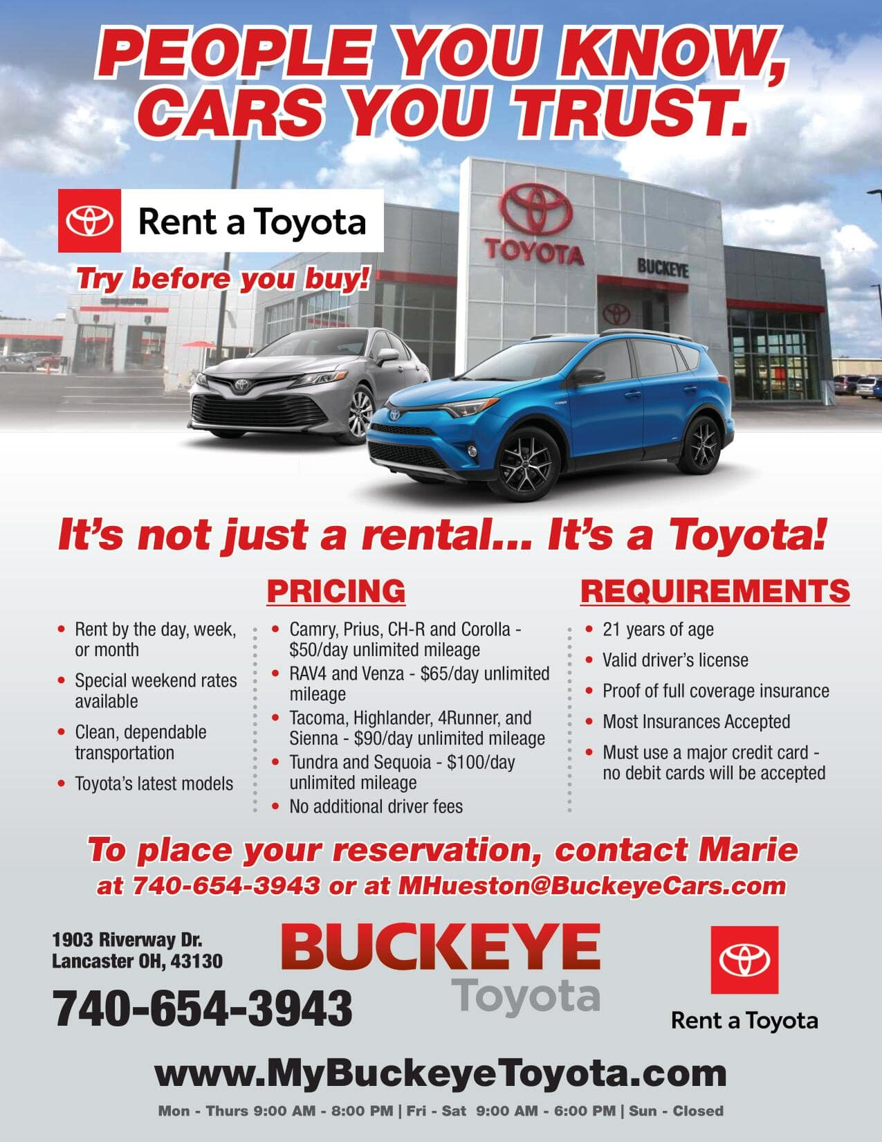 CLICK HERE FOR RATES AND CONTACT INFORMATION ON RENTING A VEHICLE