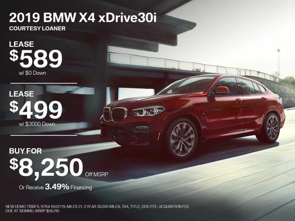 Demonstrator Special! 2019 BMW X4 xDRIVE30i SUV