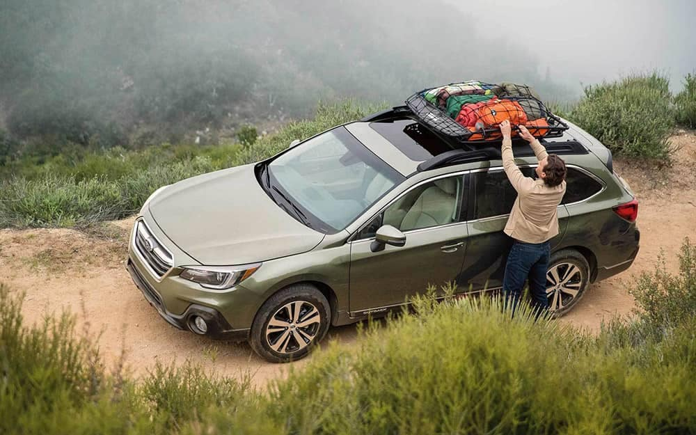 2019 Subaru Outback Roof Rack with Luggage Attached