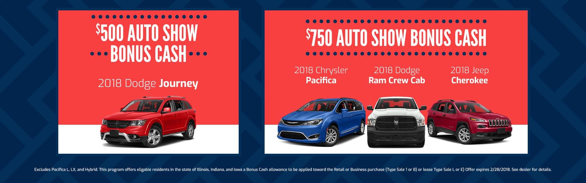 Auto Show Bonus Cash Offer February