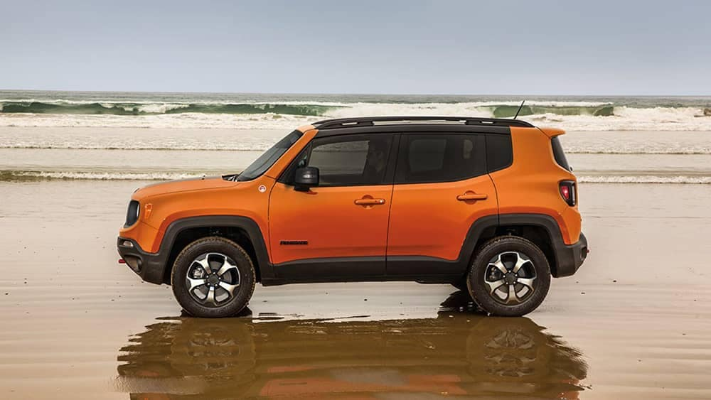 2019 Jeep Renegade in orange on the beach
