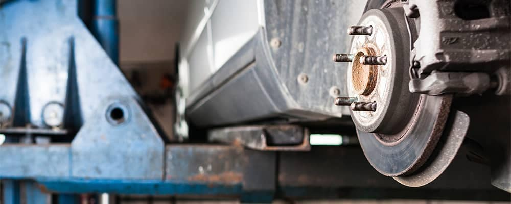 Lifted Vehicle Brake Rotor Exposed