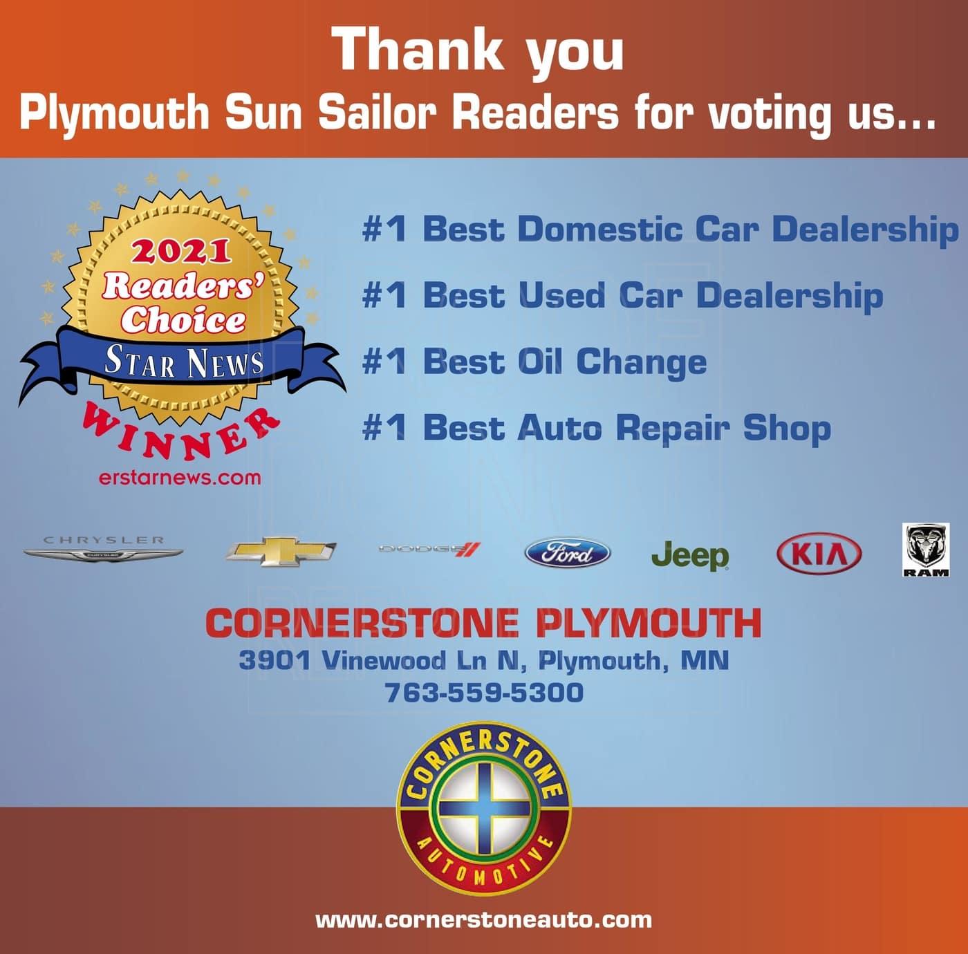 2021 Cornerstone Plymouth Readers' Choice Award