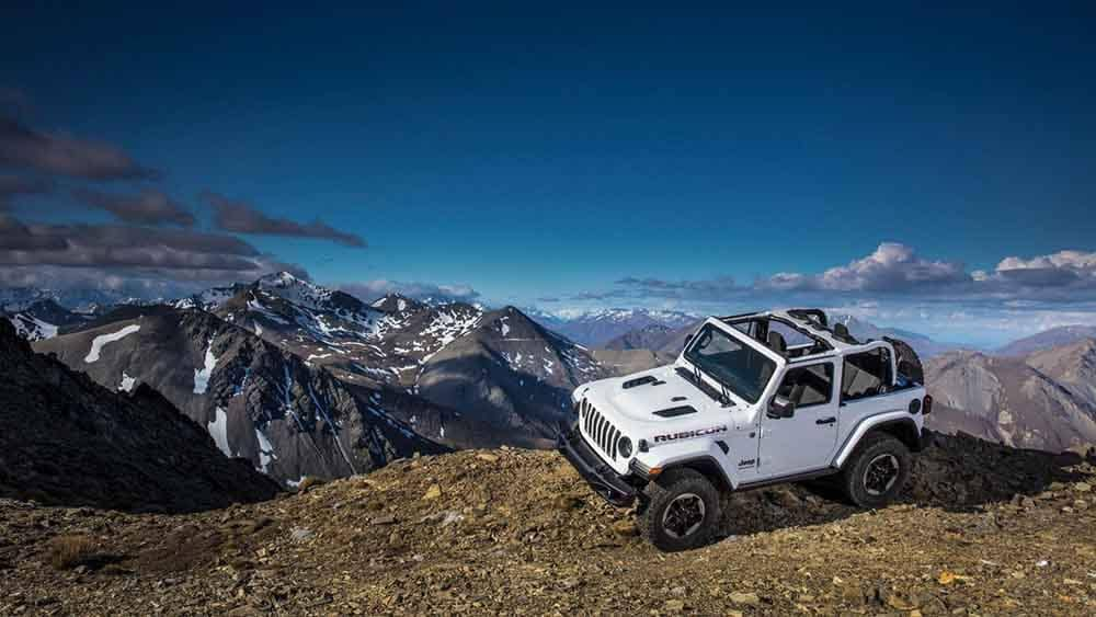 2018 Jeep Wrangler 2-Door parked on the edge of the mountain