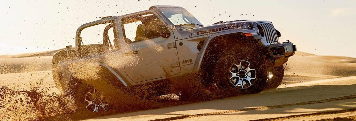 A 2020 Jeep Wrangler Off-Roading in a Desert