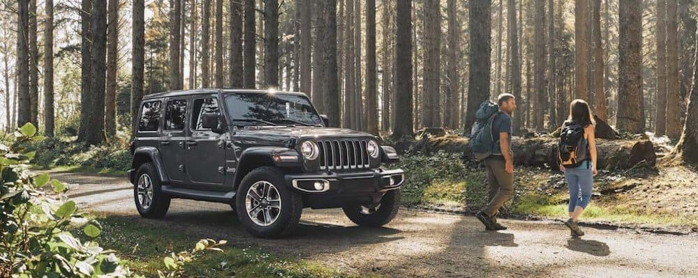 A young couple on a hiking trip with their Jeep Wrangler in a forest