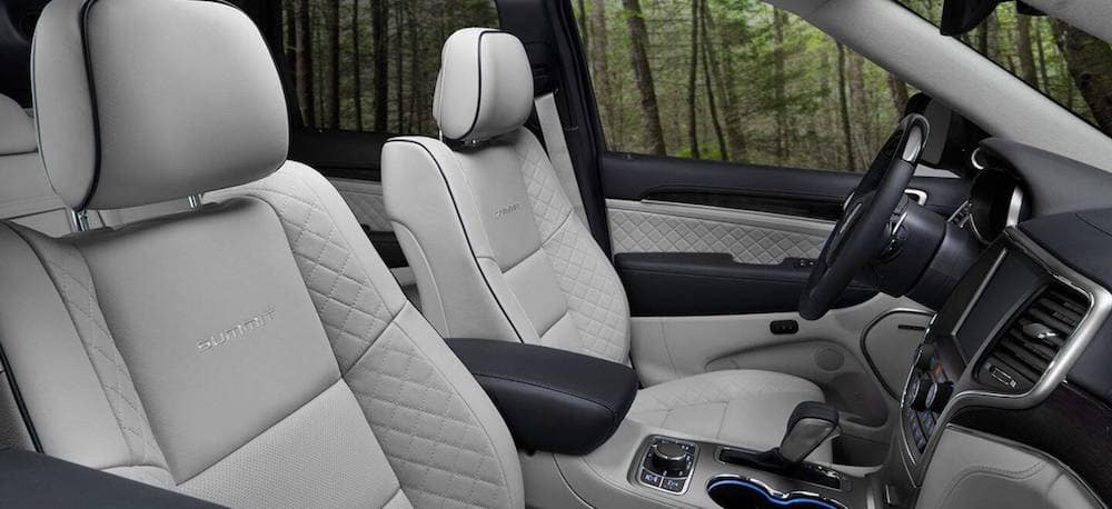 The spacious interior of a 2020 Jeep Grand Cherokee with leather seats