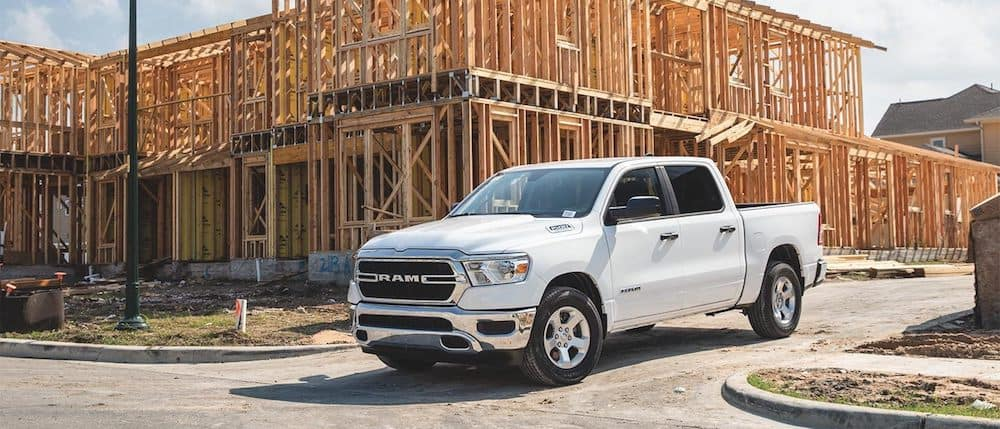 A 2020 RAM 1500 Tradesman parked at a construction site
