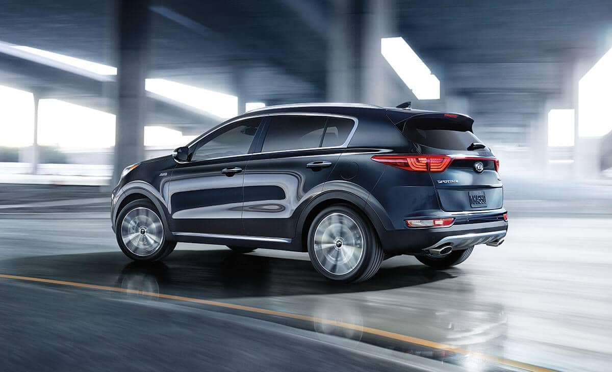 2018 Kia Sportage Black Cherry from Rear 7/8s view