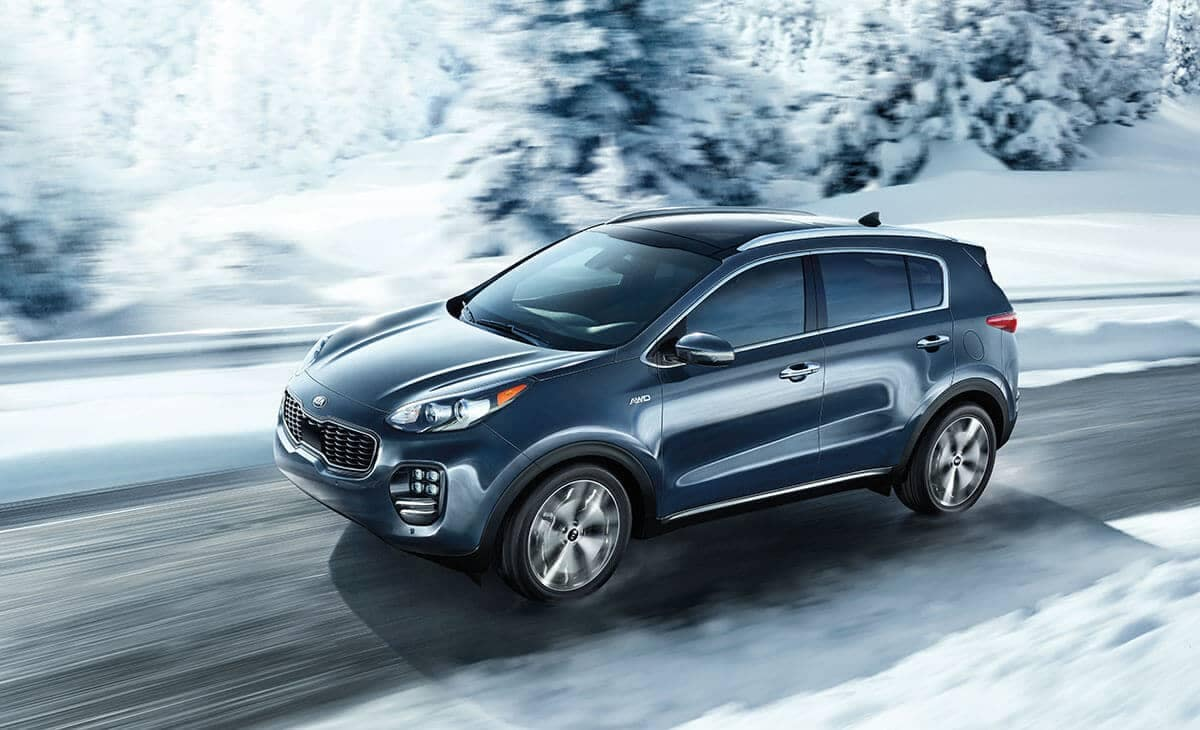 2018 Kia Sportage Front 7/8s view Driving in Snow