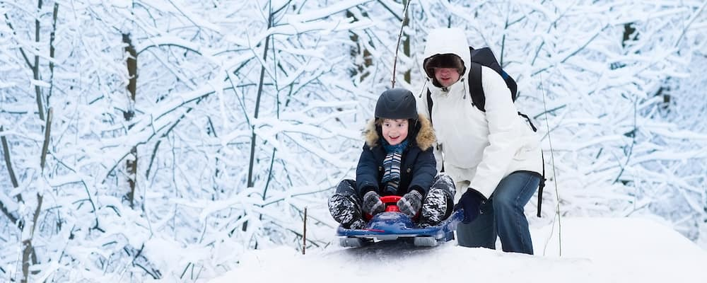 Young happy father and his cute laughing son sledding together in a snowy park