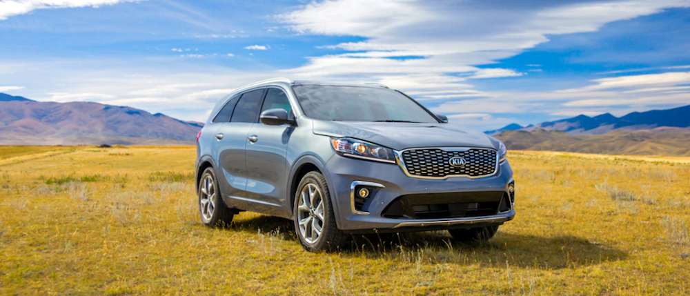 A 2020 Kia Sorento parked in a field