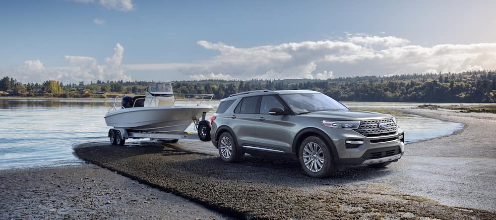 A 2020 Ford Explorer towing a boat