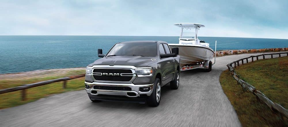 A  RAM 1500 Towing a Boat