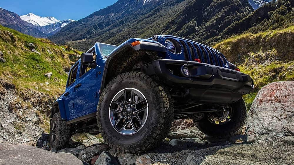 2019 Jeep Wrangler climbing mountain