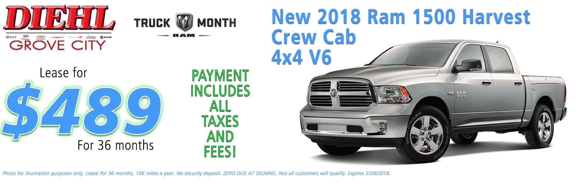 NEW 2018 RAM 1500 HARVEST CREW CAB 4X4 5'7 BOX diehl automotive grove city pa chrysler jeep dodge ram