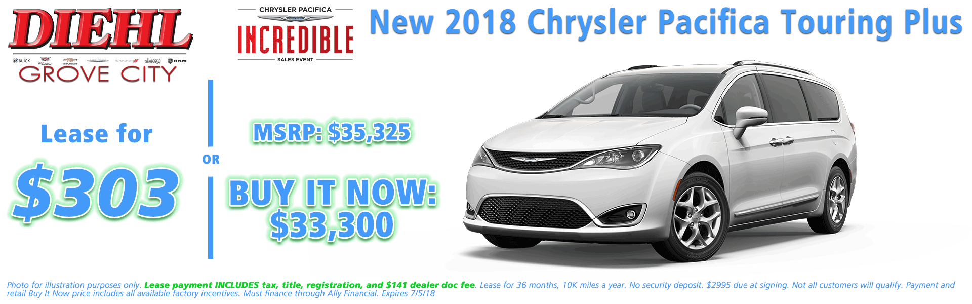 NEW 2018 CHRYSLER PACIFICA TOURING PLUS Diehl of Grove City, Pennsylvania. Chrysler Jeep Dodge Ram Chevrolet Buick Cadillac dealership